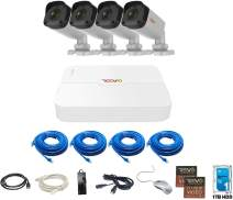 Revo America Ultra HD 4 Ch. 1TB HDD IP NVR Video Surveillance System, 4 x 4MP IP IR Bullet Security Cameras - Remote Access via Smart Phone, Tablet, PC & MAC