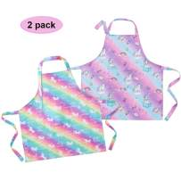 Sylfairy 2 Pack Aprons for Kids Girls Rainbow Galaxy Unicorn Apron with Pockets for Children Kichen Chef Aprons for Cooking Baking Painting and Party(Medium,6-8Years)