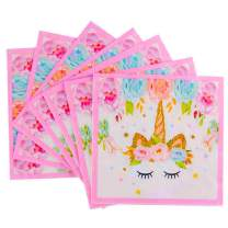 Unicorn Beverage Lunch Napkins - FZR Legend Sparkle Unicorn Themed Party Supplies | 6.7 x 6.7 Inches Folded, Disposable | Unicorn Birthday Party Decorations for Girls and Baby Shower - Gold Pink ( 50 ct )