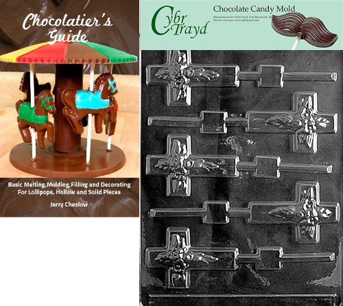 Cybrtrayd Cross Lolly Chocolate Candy Mold with Chocolatier's Guide