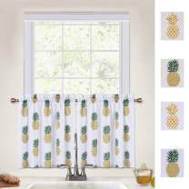 CAROMIO Pineapple Cafe Curtains 24 Inches Length, Pineapple Print Tier Curtains for Kitchen Bathroom Window Curtains Small Half Window Curtains, Green, 30Wx24L Each (Set of 2)