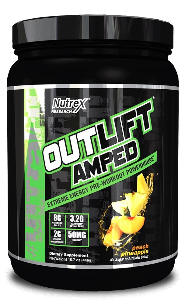 Nutrex Research Outlift Amped Powder, Peach Pineapple, 15.7 Ounce