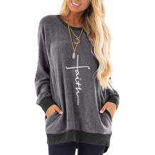 AELSON Women's Casual Faith Print Round Neck T Shirt Long Sleeve Loose Pullover Sweatshirt Tops with Pockets