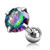 Jewseen 316L Surgical Steel Iridescent CZ 16g Helix Cartilage Barbell Stud Tragus Earrings Piercing