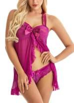 Lingerie for Women Lace Babydoll Halter Chemise Strap Nightwear Plus Size Sleepwear
