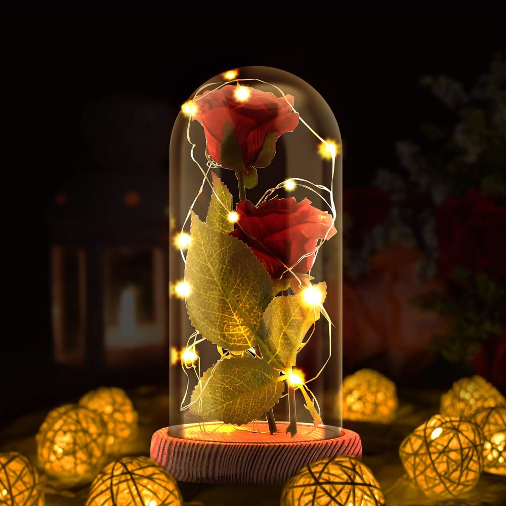 Enchanted Rose Lamp, Beauty and The Beast Rose in Glass Dome, 20 Led Light 2pcs Red Silk Rose Flower on Yellow Wood Base, Romantic Forever Gift for Mothers' Day, Birthday Party Wedding Anniversary