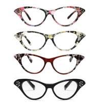 KoKoBin Cat Eye Reading Glasses for Women Fashion Reader Rhinestone Inlay with Spring Hinge 4 Pair,1.0 Strength
