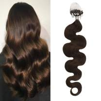 Moresoo 24 Inch Remy Human Hair Micro Loop Seamless Hair Extension 1g/s Color Medium Brown #4 Natural Body Wave Hair Extension Micro Bead Human Hair for Women
