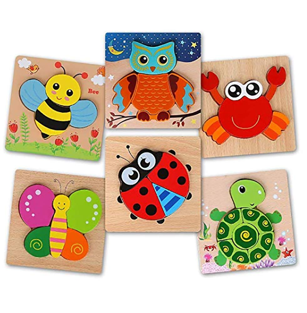 BeebeeRun Wooden Jigsaw Puzzles Toys for 2 Year olds Boys Girls,6pcs Animal Puzzles for Toddlers Kids,Educational Toys for 1 2 3 Year Olds