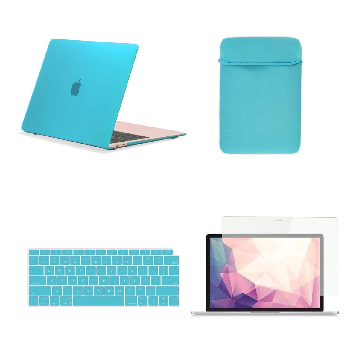 TOP CASE MacBook Air 13 Inch Case A1932 with Retina Display fits Touch ID 2019 2018 Release, 4 in 1 Essential Bundle Rubberized Hard Case, Keyboard Cover, Sleeve, Screen Protector - Aqua Blue