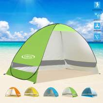 G4Free Large Pop up Beach Tent Automatic Sun Shelter Outdoor Cabana Sun Umbrella 3-4 Person Fishing Anti UV Sun Shelter Tents Instant Portable