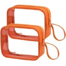 Lermende TSA Approved Travel Toiletry Bag Travel Accessories Clear Quart Size Toiletries Bags (Tote Bag 2 Orange)