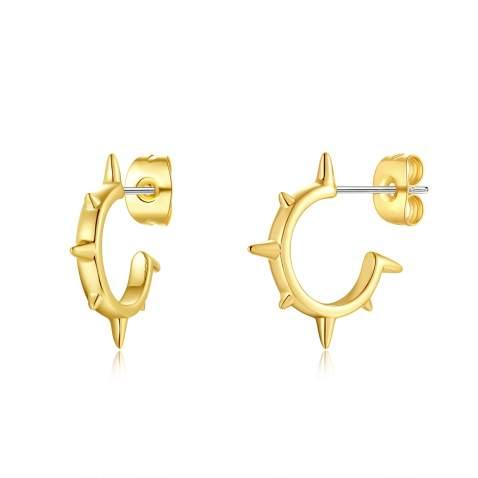 GORSKOY Spike Stud Earrings, Punk Cartilage Piercing Earrings, Tiny Sun Starburst Earrings 14K Gold Plated, Spike Piercing Jewelry Set for Women