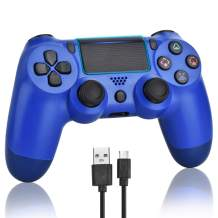 Wireless Controller for PS4 - Remote Joystick for Sony Playstation 4 with Charging Cable and Double Shock, Blue, 2021, New Model