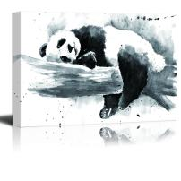wall26 - Animal Canvas Wall Art Series - Ink Painting of a Panda on a Tree Branch - Giclee Print Gallery Wrap Modern Home Decor Ready to Hang - 16x24 inches