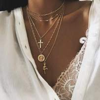 Fstrend Holy Layered Cross Necklace Gold Choker Coin Chain Rose Flower Pendant Multilayered Long Necklaces Jewelry for Women and Girls (Gold)