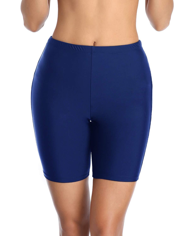 Holipick High Waisted Swim Shorts for Women Skinny Board Shorts Long Sports Swimsuit Bottoms
