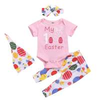 4Pcs Baby Girl Easter Outfits Sets My 1St Easter Egg Print Romper Pants Hat Headband