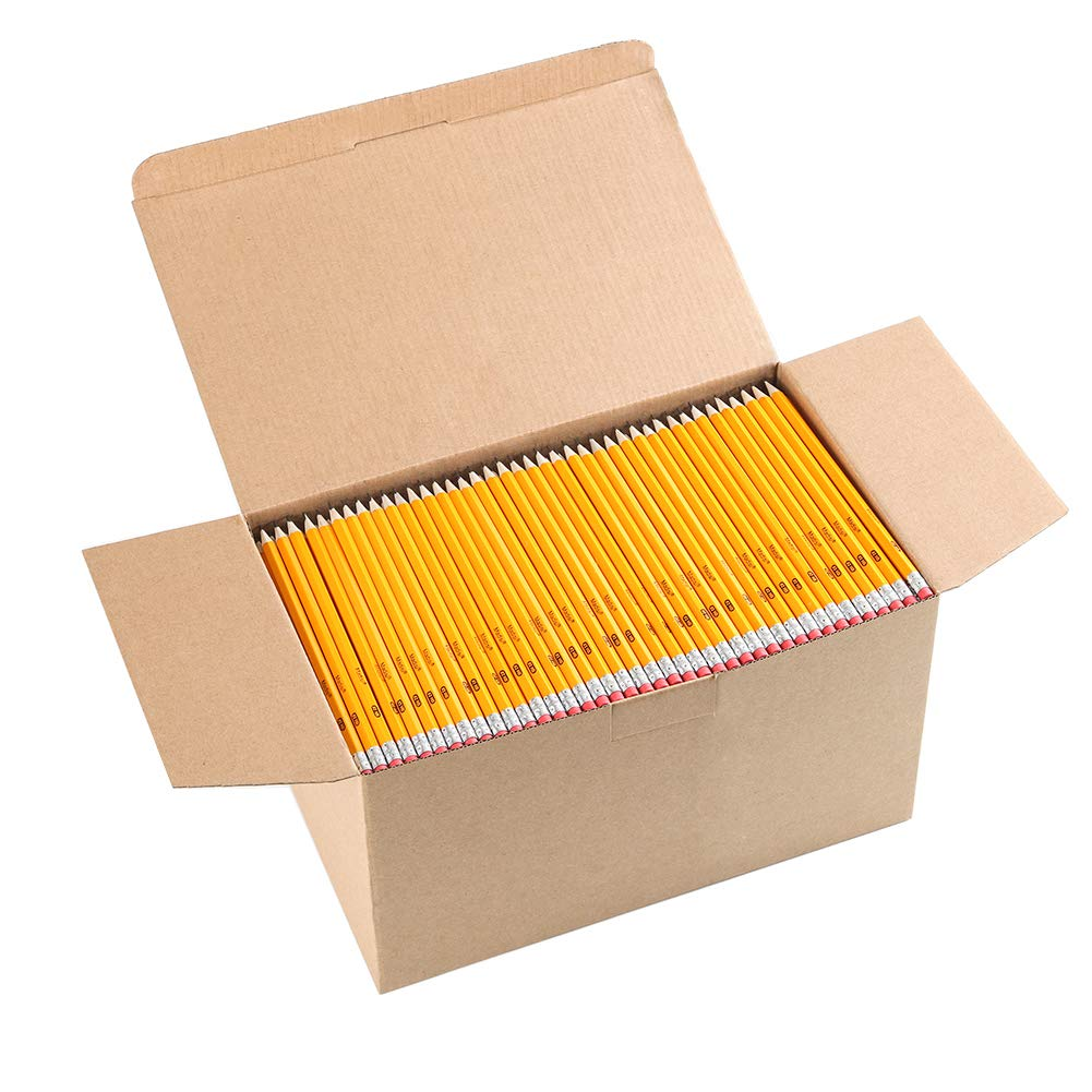 Wood-Cased #2 HB Pencils, Yellow, Pre-sharpened, Class Pack, 1000 pencils