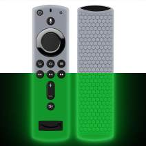 Remote Case/Cover for Fire TV Stick 4K,Protective Silicone Holder Lightweight[Anti Slip]ShockProof for Fire TV Cube/Fire TV(3rd Gen)Compatible with All-New 2nd Gen Alexa Voice Remote Control-GlowGreen
