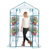 "Worth Garden Custom Walk-in Greenhouse 3 Tiers with 12 Sturdy Shelves & Windows, 67"" L x 47''W x 76''H Portable Greenhouse for Indoor Outdoor Grow Plants, Seedlings, Herbs, or Flowers"