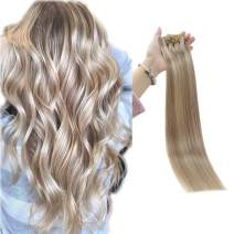 Full Shine 8 Pieces Seamless Human Hair Clip In Extensions 22 Inch 7A Grade Skin Weft Pu Clip In Human Hair Extensions Color 18 Ash Blonde Highlight 613 Blonde Full Head Set 100 Gram