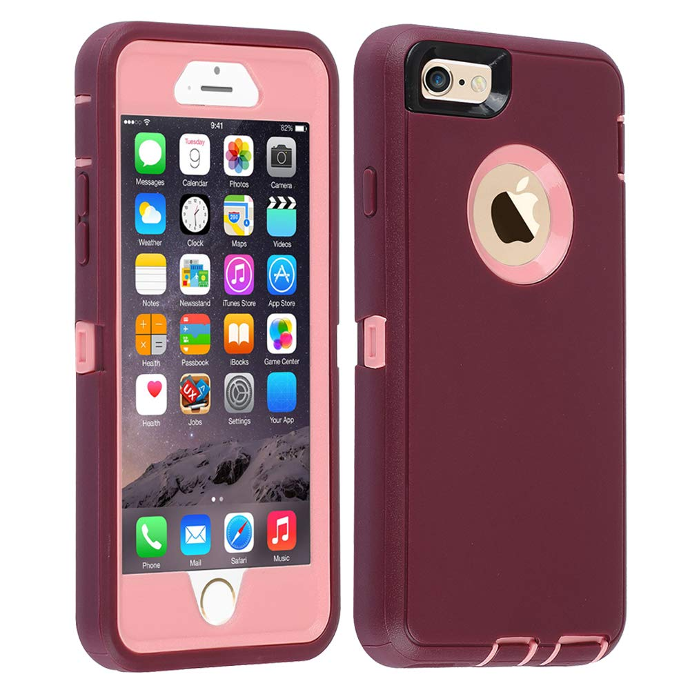 Co-Goldguard iPhone 6s Plus/6 Plus Case,Heavy Duty Armor 3 in 1 Built-in Screen Protector Rugged Cover Dust-Proof Shell for iPhone 6+/6s+ 5.5 inch,Purple &Light Pink