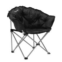 """PELLIOT Camping Chair Folding Recliner Padded Moon Round Saucer Chair Supports 330 lbs 30.31"""" L x 19.68"""" W x 34.25"""" H"""