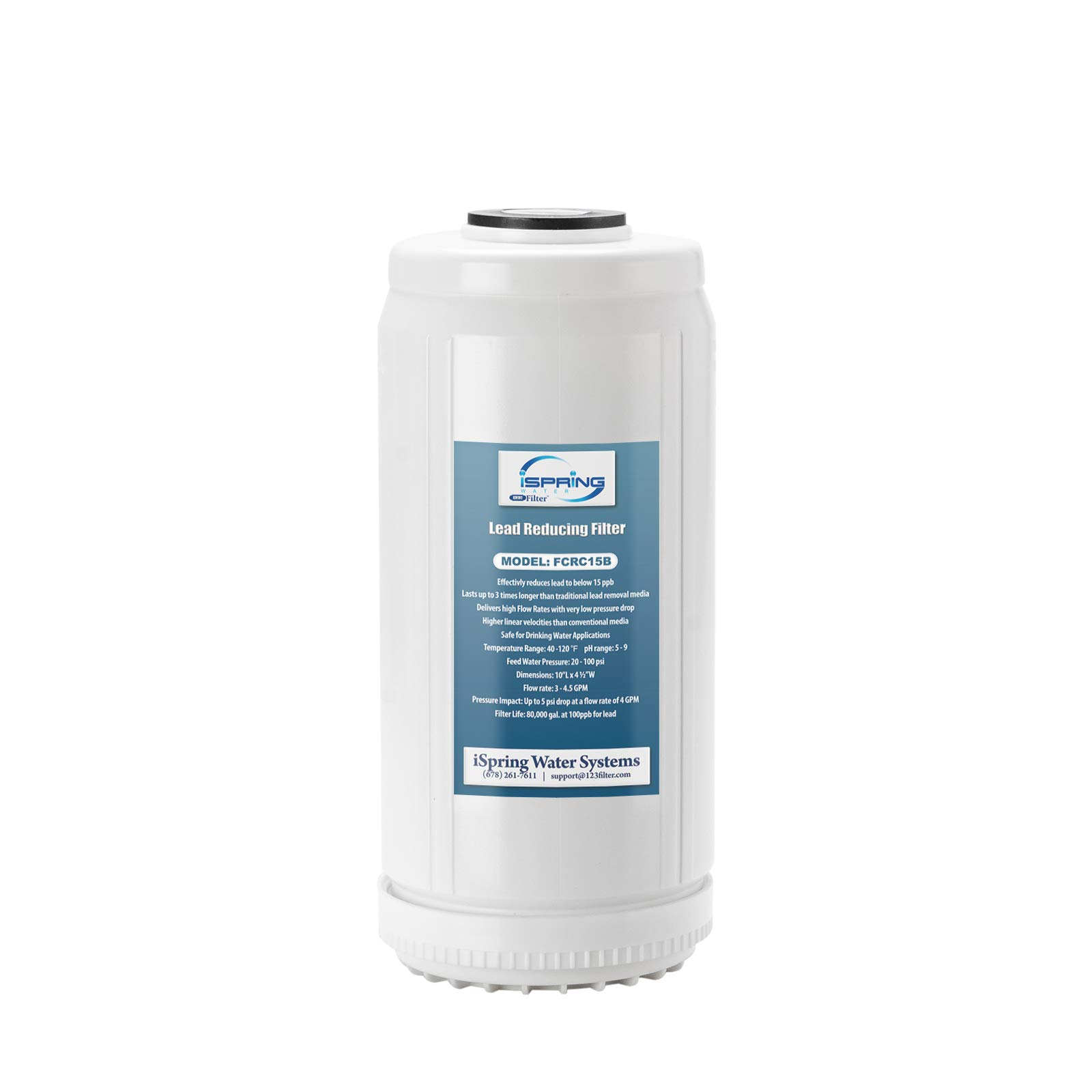 """iSpring FCRC15B Lead Reducing Replacement Filter, Ultra High Capacity, 10""""x4.5"""", Fits Whole House Water Filtration System WGB21B-PB, White"""