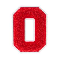 O - Red on White - 2.5 Inch Heat Seal Chenille Varsity Letter