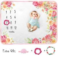 Baby Monthly Milestone Blanket, Organic Plush Fleece Large Floral Baby Month Blanket Photo Blanket for Baby Shower Newborn Pictures Photography (Flower Print)