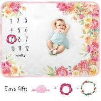Baby Monthly Milestone Blanket Girl Boy Organic Plush Fleece Large Personalized Memory Photo Blanket for Baby Shower Newborn Pictures Photography (Flower Print)