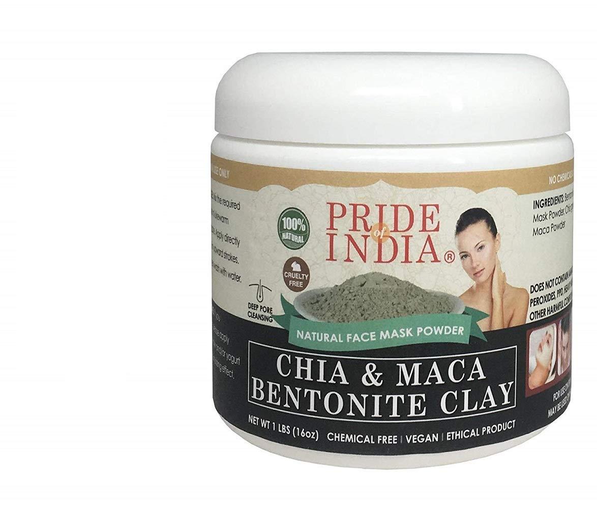 Pride Of India - Chia & Maca Bentonite Clay Natural Face Mask Powder, 1 Pound (454gm) Jar - BUY ONE GET 50% OFF 2ND UNIT