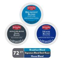 Community Coffee Lovers Sampler Variety Pack - 72 Count Single Serve Pods - Compatible with Keurig 2.0 K Cup Brewers - Signature Dark Roast - Breakfast Blend - House Blend