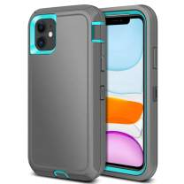 Jiunai iPhone 11 Case, Outdoor Tough Heavy Duty Drop Protection Shockproof Anti Scratch Dual Layer Soft TPU Hard PC Sports Armor Rugged Cover Matte Case ONLY for iPhone 11 6.1 inches 2019 Grey