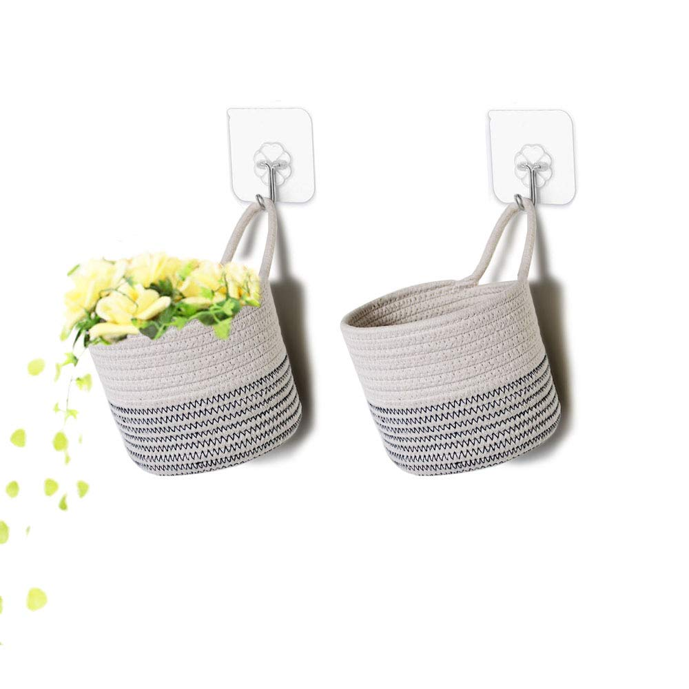 Wall Hanging Organizer Storage Basket with Free Wall Hooks,Small Cotton Rope Baskets for Baby Nursery and Home Décor,Set of 2