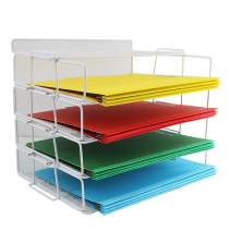 LUCYCAZ 4 Tier Reinforce Stackable Paper Document Letter Tray Desk Organizer, New Design Metal Mesh File Holder Organizer for Home Office School, Folders Letters Paper Storage White