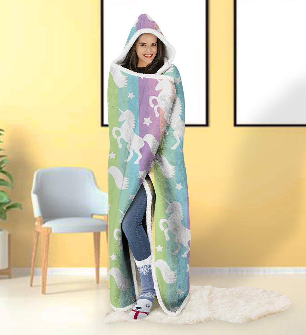 ALISISTER Hooded Blanket Adult Women Men 3D Paint Rainbow Unicorn Sherpa Plush Fleece Wearable Throw Blanket 60 X 80 Inches Cute Costume Home Sofa Winter Super Soft Lightweight for Bed Room Spring