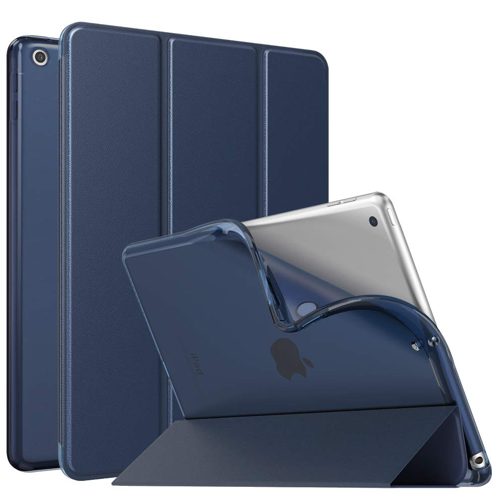 """MoKo Case Fit 2018/2017 iPad 9.7 6th/5th Generation, Slim Smart Shell Stand Folio Case with Soft TPU Translucent Frosted Back Cover Compatible with iPad 9.7"""" 2018/2017, Auto Wake/Sleep - Indigo"""