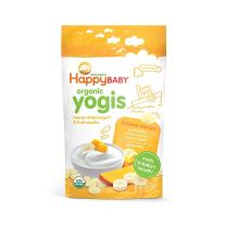 Happy Baby Organic Yogis Freeze-Dried Yogurt and Fruit Snacks Banana Mango, 1 Ounce Bag Organic Gluten-Free Easy to Chew Probiotic Snacks for Babies and Toddlers