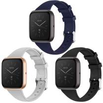 EZCO 3-Pack Sport Bands Compatible with Fitbit Versa/Versa 2 / Versa Lite, Waterproof Soft Silicone Breathable Sport Watch Strap Replacement Wristband Accessories Women Man for Versa Smart Watch