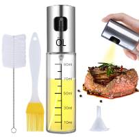 Ninonly Olive Oil Sprayer Bottle Oil Dispenser with Scale Transparent Food-Grade Portable Spray Bottle Vinegar Bottle Air Fryer Stainless Steel for Salad BBQ Frying Grilling Kitchen Baking Roasting