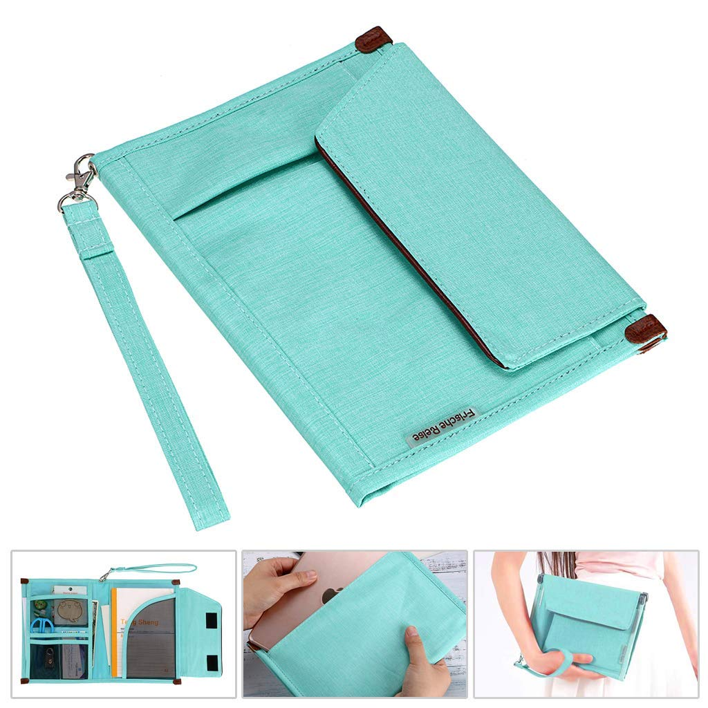 BTSKY Portfolio File Folder A5 Documents Bag Files Organizer Business Card Holder Stationery Bag Book & Bible Cover Briefcase Waterproof with Removal Handle Strap Easy to Carry Green