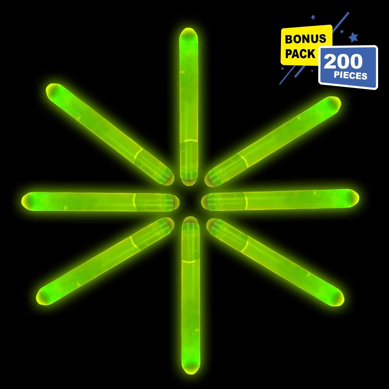 Lumistick 2 Inch Mini Glowsticks - Ultra Bright Glow in The Dark Party Favors Neon Light Sticks - Freshly Made Illuminating Water Proof Fluorescent Sticks Brightest 4-6 hrs (Green, 200 Glow Sticks)