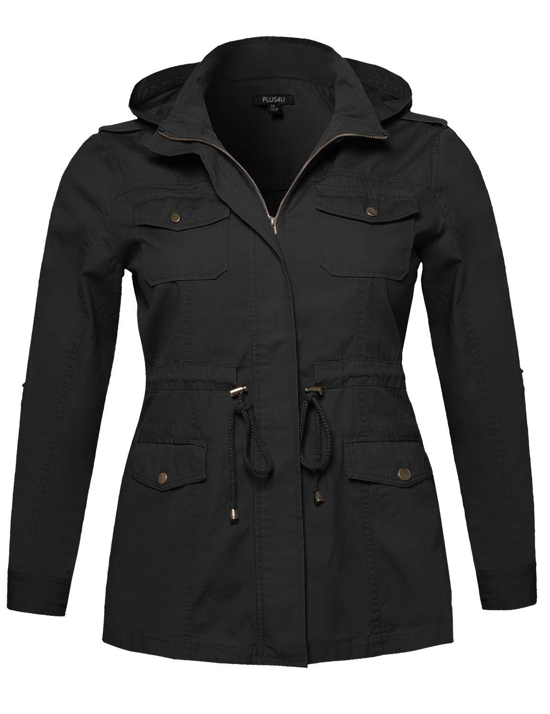 Plus4u Women's Casual Long Sleeve Anorak Hoodie Jacket