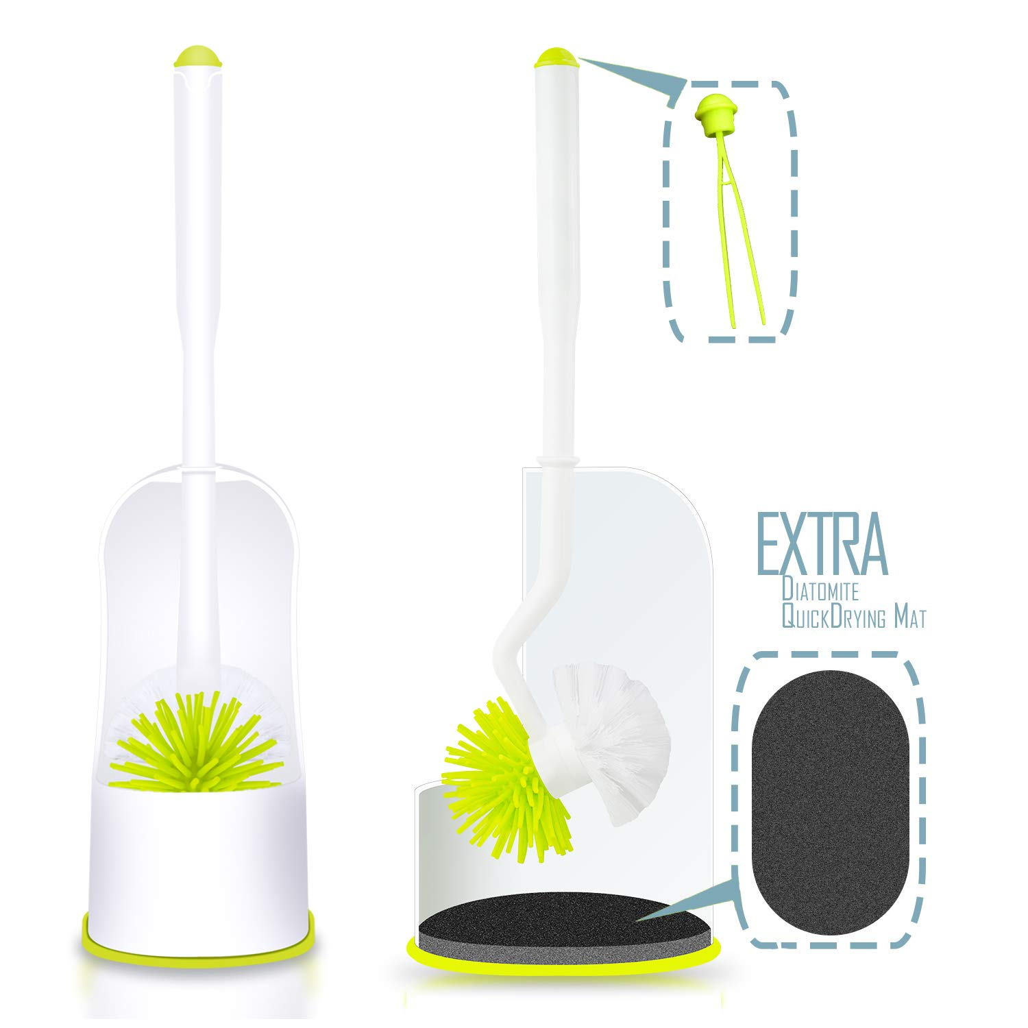 Kimitech Toilet Brush and Holder, 2 in 1 Toilet Cleaner, Soft Silicone Brush and Strong Bristles with Bowl Holder, Come with Water-Dry Diatomite Mat