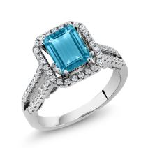 Gem Stone King 925 Sterling Silver Swiss Blue Topaz Women's Engagement Ring 2.78 Center Stone: 9X7MM Emerald Cut (Available 5,6,7,8,9)
