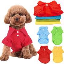 DOGGYZSTYLE 4 Pack Solid Dog Polo Tshirts Shirts Pet Puppy T-Shirt Clothes Outfit Apparel Coats Tops