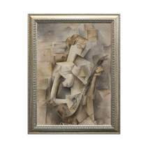 "UpperPin Girl with Mandolin (Fanny Tellier) by Pablo Picasso, Oil Painting Print on Museum Quality Canvas, Antique Silver Frame, Size 22"" x 29"", Framed Painting Ready to Hang on Wall"