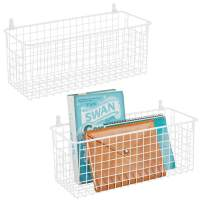mDesign Portable Metal Farmhouse Wall Decor Storage Organizer Basket Bin with Handles for Hanging in Entryway, Mudroom, Bedroom, Bathroom, Laundry Room - Wall Mount Hooks Included, 2 Pack - White